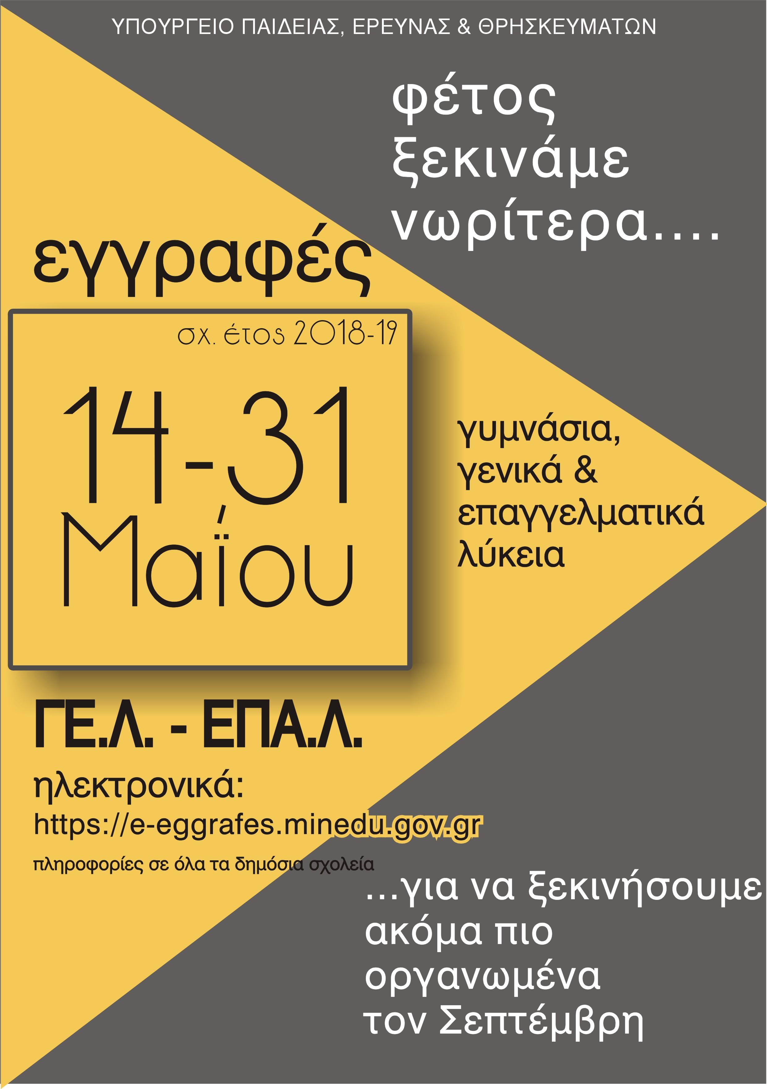ΕΓΓΡΑΦΕΣ ΓΕΛ & ΕΠΑΛ
